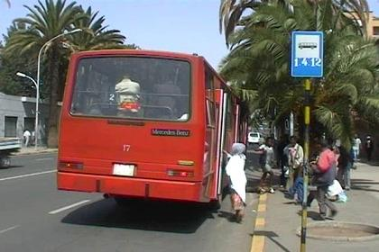 Bus stop at Harnet Avenue - Asmara - Eritrea