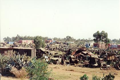 Graveyard of destroyed military equipment in Asmara Eritrea