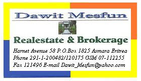 Dawit Mesfun - Real estate and brokerage - Asmara Eritrea